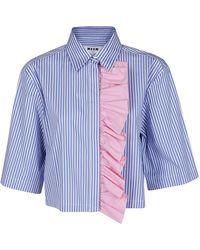 MSGM Contrast Ruffle Cropped Shirt - Blue