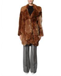 Stella McCartney Faux Fur Oversized Coat - Brown
