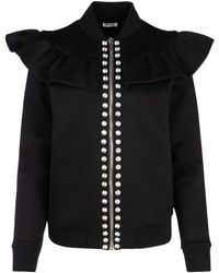 Miu Miu Embellished Ruffle Zipped Bomber Jacket - Black
