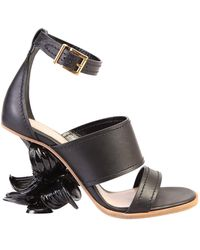Alexander McQueen No.13 Flower Wedge Sandal - Black