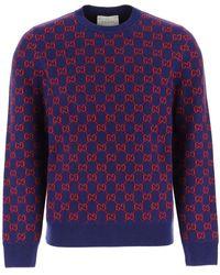 Gucci GG Monogram Pattern Sweater - Blue