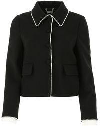 Miu Miu Short Jacket With Crystals - Black