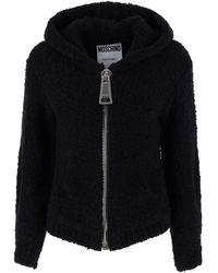 Moschino Macro Zip Hooded Jacket - Black