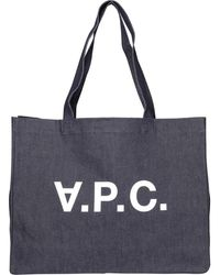A.P.C. Daniela Denim Shopping Tote Bag - Blue