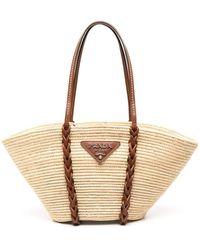 Prada Straw Basket Tote Bag - Natural