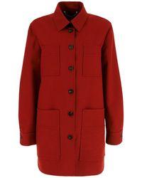Ferragamo Single Breasted Shirt Jacket - Red