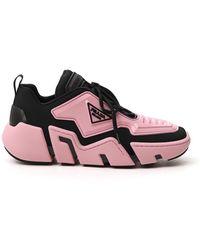 Prada Logo Plaque Chunky Sole Trainers - Pink