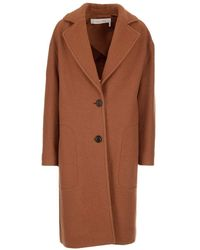 See By Chloé Single-breasted Oversized Coat - Brown