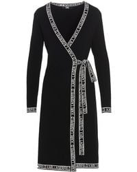 Karl Lagerfeld Logo Tape Tie-waist Dress - Black