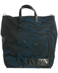 Valentino Vltn Tiger Tote Bag - Blue