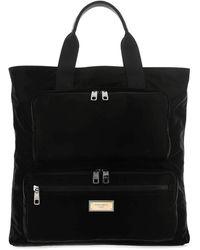 Dolce & Gabbana Sicilia Logo Tag Tote Bag - Black