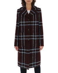 Mulberry Single Breasted Check Coat - Black