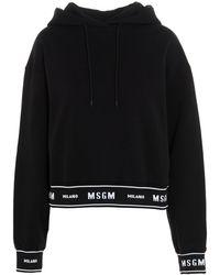 MSGM Tape Logo Hoodie - Black