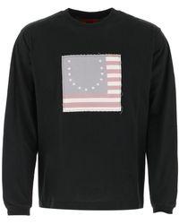 424 Smiley Flag Long-sleeve T-shirt - Black