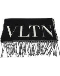 Valentino Vltn Fringed Scarf - Black