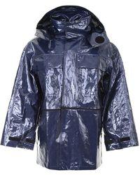 Off-White c/o Virgil Abloh Glossy Velcro Coat - Blue