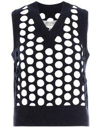 Maison Margiela Punched Holes Knit Vest - Blue