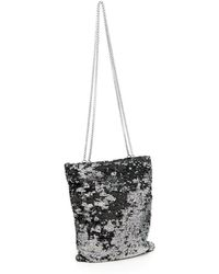 4abe7ef9668 Lyst - Miu Miu Miu Silver Sequinned Design Leather Shoulder Bag in ...