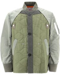 Sacai Quilted Bomber Jacket - Green