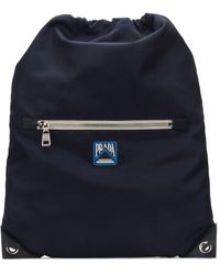 Prada Navy Logo Drawstring Backpack - Blue