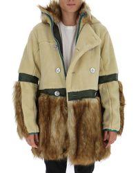 Sacai Faux Fur Hooded Coat - Natural