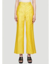 Gucci GG Lamé Wide Trousers - Yellow