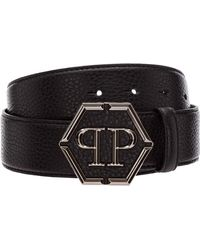 Philipp Plein Logo Plaque Buckle Belt - Black