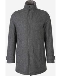 Herno Houndstooth Padded Coat - Grey