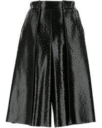 MSGM Faux Leather Textured Bermuda Shorts - Black