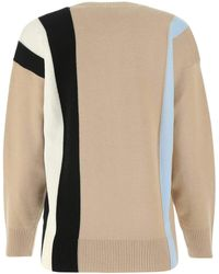 Burberry Cappuccino Stretch Wool Blend Sweater Nd - Natural