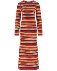 Chloé Striped Fitted Knit Maxi Dress - Red