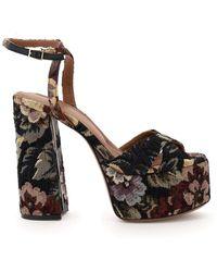 L'Autre Chose Jacquard Flower Platform Sandals - Multicolour