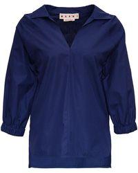 Marni V-neck Cotton Blouse - Blue