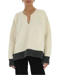 Marni Distressed Detail Knitted Jumper - White