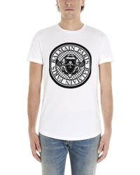 Balmain Coin Logo-flocked Cotton-jersey T-shirt - White