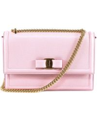 00968bbfd1 Ferragamo Vara Quilted-Leather Shoulder Bag in Pink - Lyst