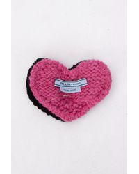 Prada Knitted Heart Brooch - Pink