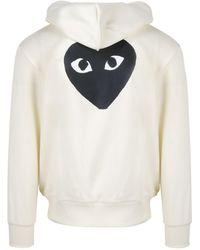 COMME DES GARÇONS PLAY Heart Logo Print Hoodie - White