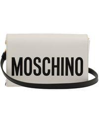 Moschino Logo Print Shoulder Bag - White
