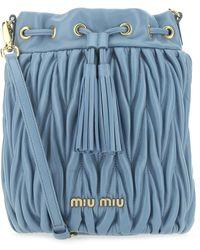 Miu Miu Matelassé Tassel Bucket Bag - Blue