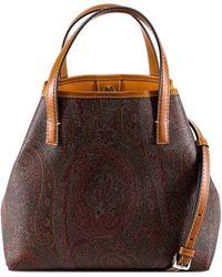 Etro Paisley Print Top Handle Bag - Brown
