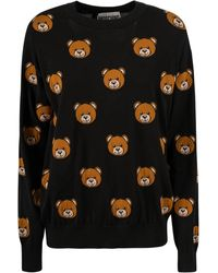 Moschino Allover Teddy Intarsia Knitted Jumper - Black