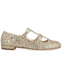 Miu Miu Glitter Double Buckled Ballerinas - Metallic