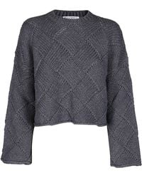 JW Anderson Cropped Oversize Crewneck Sweater - Gray