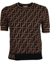 Fendi Ff Motif Knitted T-shirt - Brown