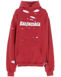 Balenciaga Caps Destroyed Oversize Hoodie - Red