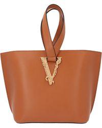 Versace Virtus Medium Bucket Bag - Brown
