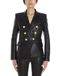 Balmain Double Breasted Fitted Blazer - Black