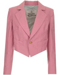 """Vivienne Westwood Giacca """"lou Lou Spencer"""" In Check Rosa A Spina Di Pesce - Pink"""