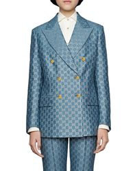 Gucci GG Logo-print Blazer - Blue